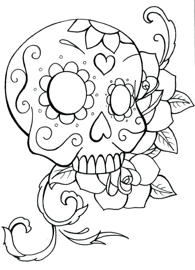 640x887 Classy Sugar Skull Coloring Page New Simple Pages For Kids