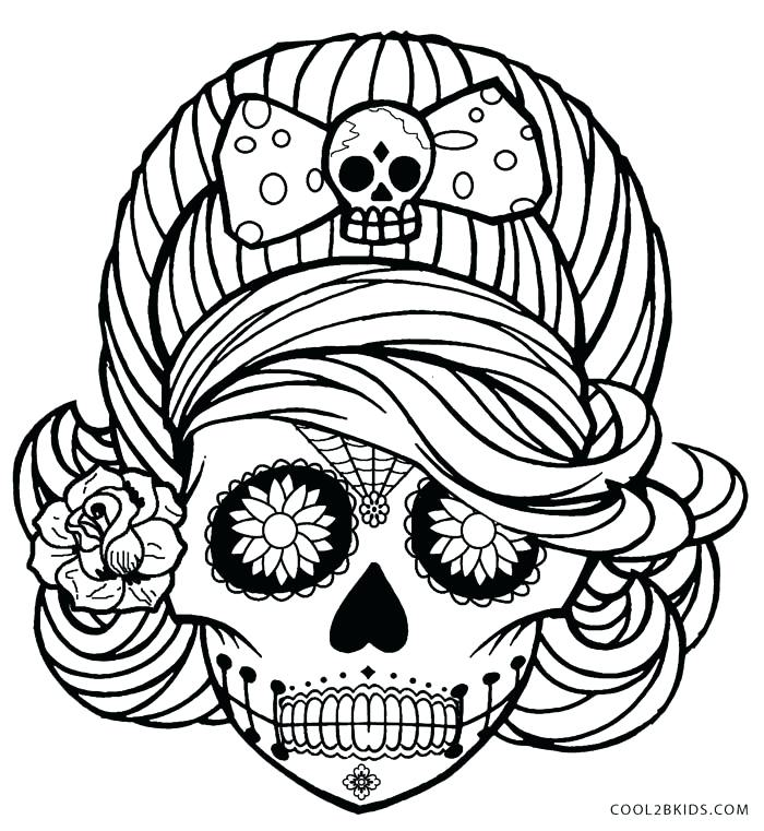 700x761 Sugar Skull Pictures Color Sugar Skull Coloring Pages Sugar Skull