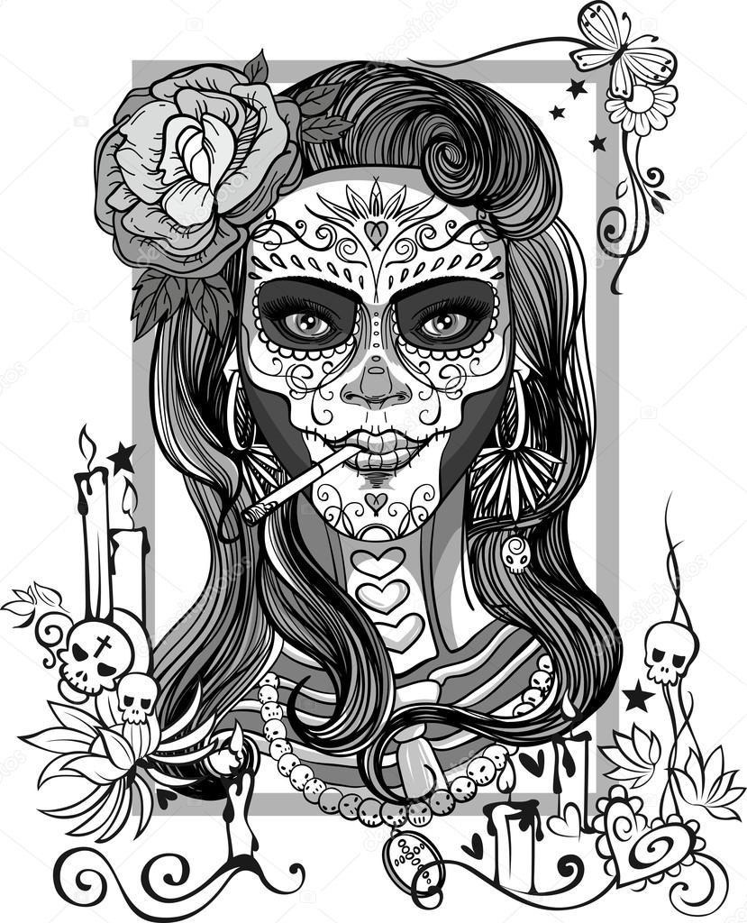 829x1024 Sugar Skull Woman Stock Vector Red Spruce
