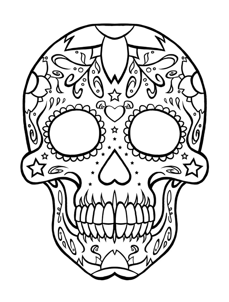 736x969 Free Skulls Day Of The Dead Coloring Pages Adult Throughout Skull