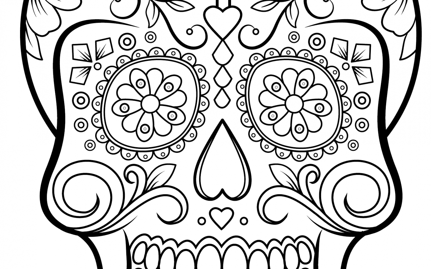 1440x900 Free Sugar Skull Coloring Page Printable Day Of The Pages