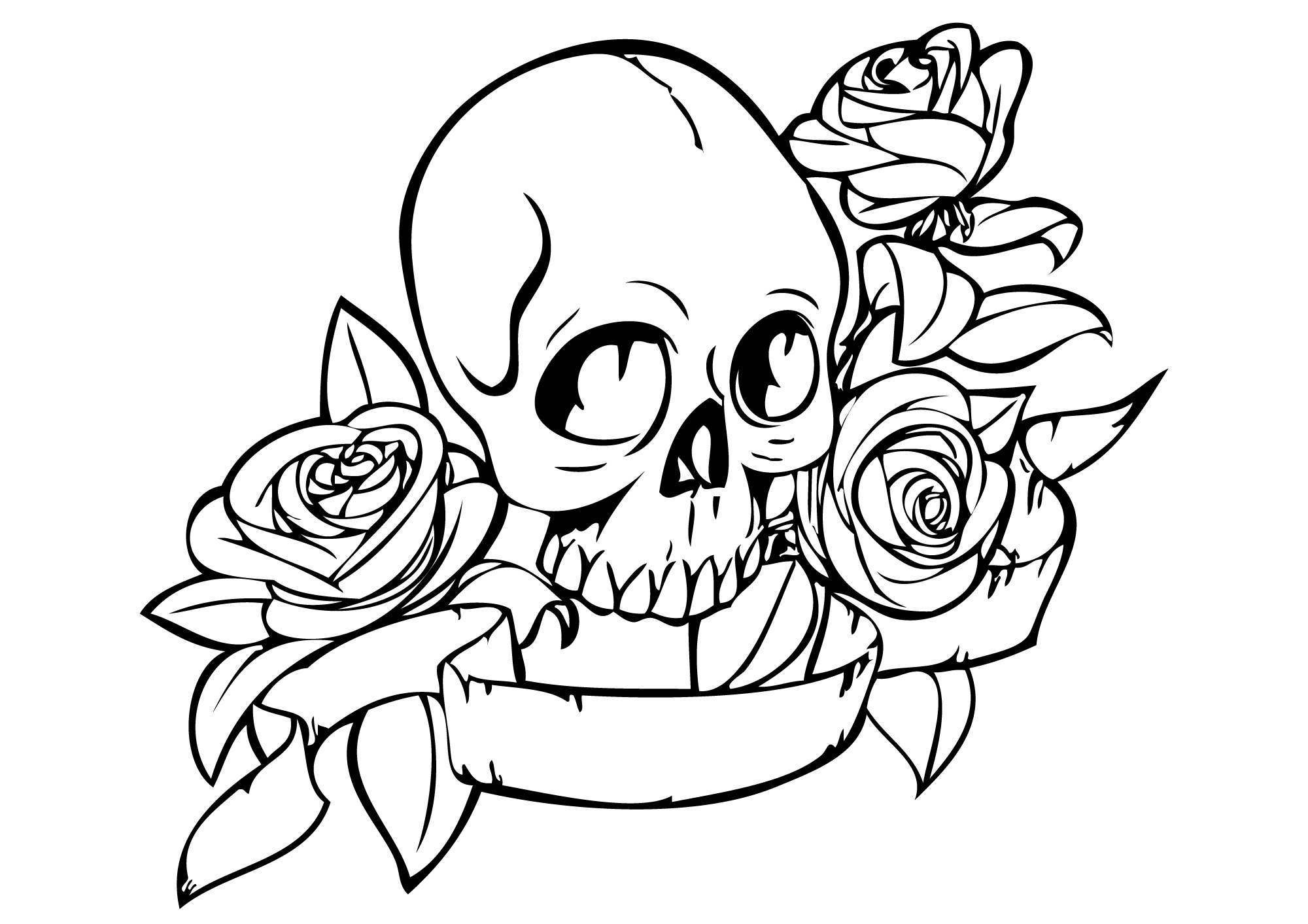2000x1413 Skull Coloring Pages With Sugar Skull Drawings With Roses Tumbl