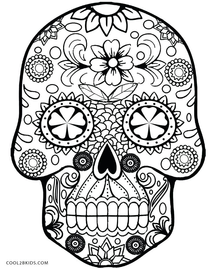736x930 Sugar Skull Color Pages Pin Drawn Skull Coloring Page 4 Sugar