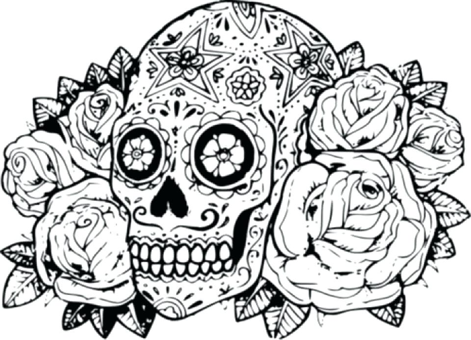 960x694 Sugar Skull Color Pages Sugar Skulls Coloring Pages Free Sugar