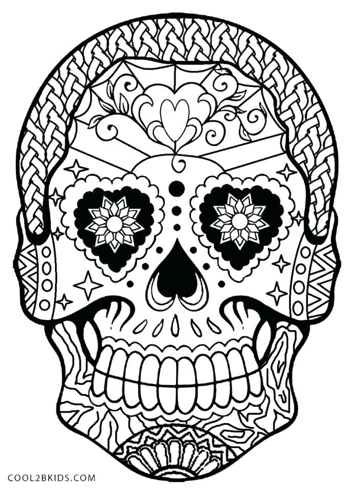 690x960 Sugar Skulls Coloring Pages Pin Drawn Sugar Skull 6 Sugar Skull