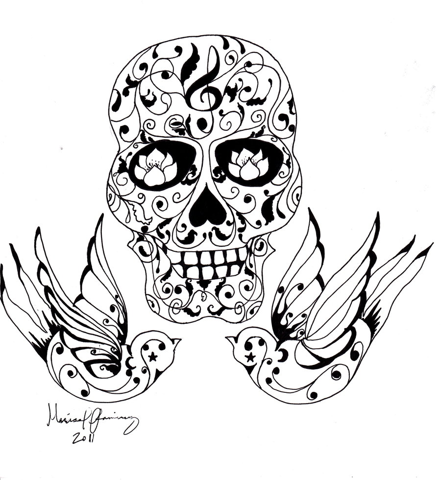 900x980 Collection Of Owl And Sugar Skull Tattoo Print