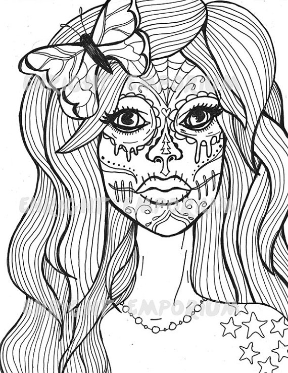 570x738 Sugar Skulls For Girls Coloring Pages Sweet Print Draw Printable