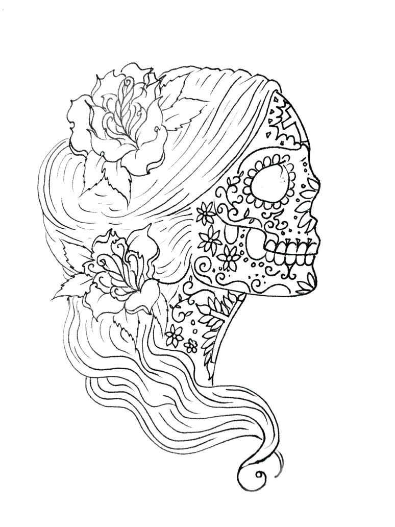 774x1032 Coloring Pages ~ Sugar Skulls Coloring Pages Drawn Skull 1 Free