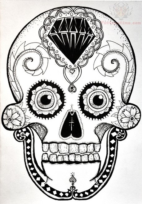 458x657 Collection Of Sugar Skull Head Tattoo Design