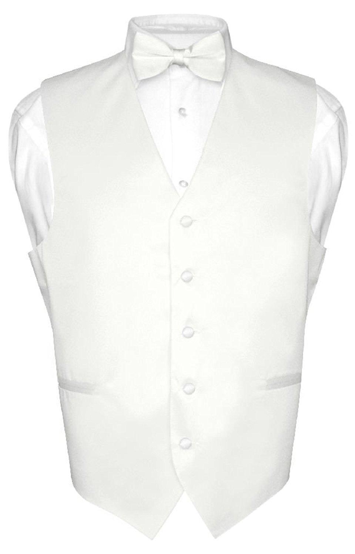 959x1500 Men's Dress Vest Amp Bowtie Solid White Color Bow Tie Set For Suit
