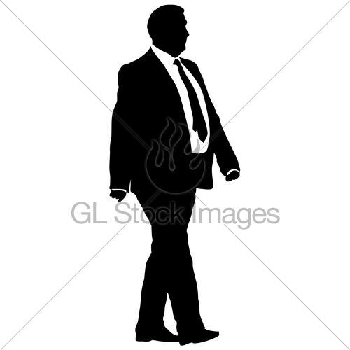 500x500 Silhouette Businessman Man In Suit With Tie On A White Ba Gl