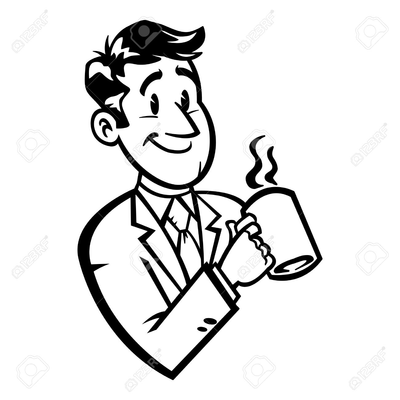 1300x1300 Business Man In Suit And Tie Drinking Coffee Vector Illustration