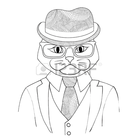 450x450 Catman Boss In A Suit With A Tie Vector Illustration. A Hybrid