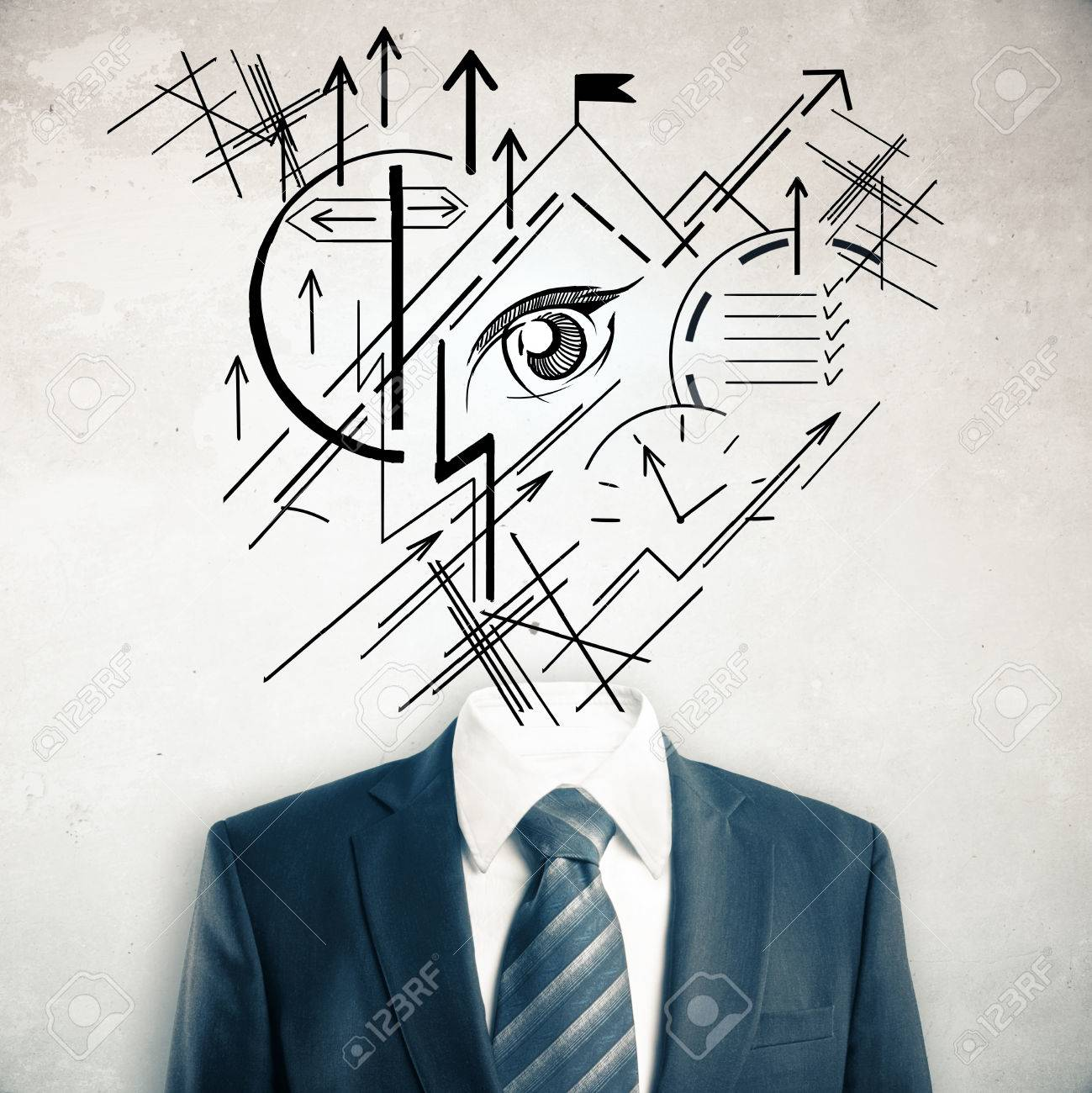 1299x1300 Headless Businessman In Suit And Tie With Abstract Geometric