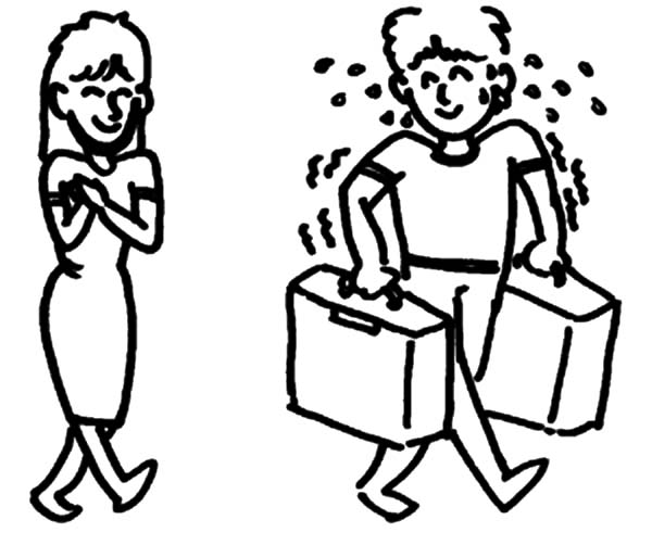 600x502 Helping A Girl Carry Her Bag And Suitcase Others Coloring Pages