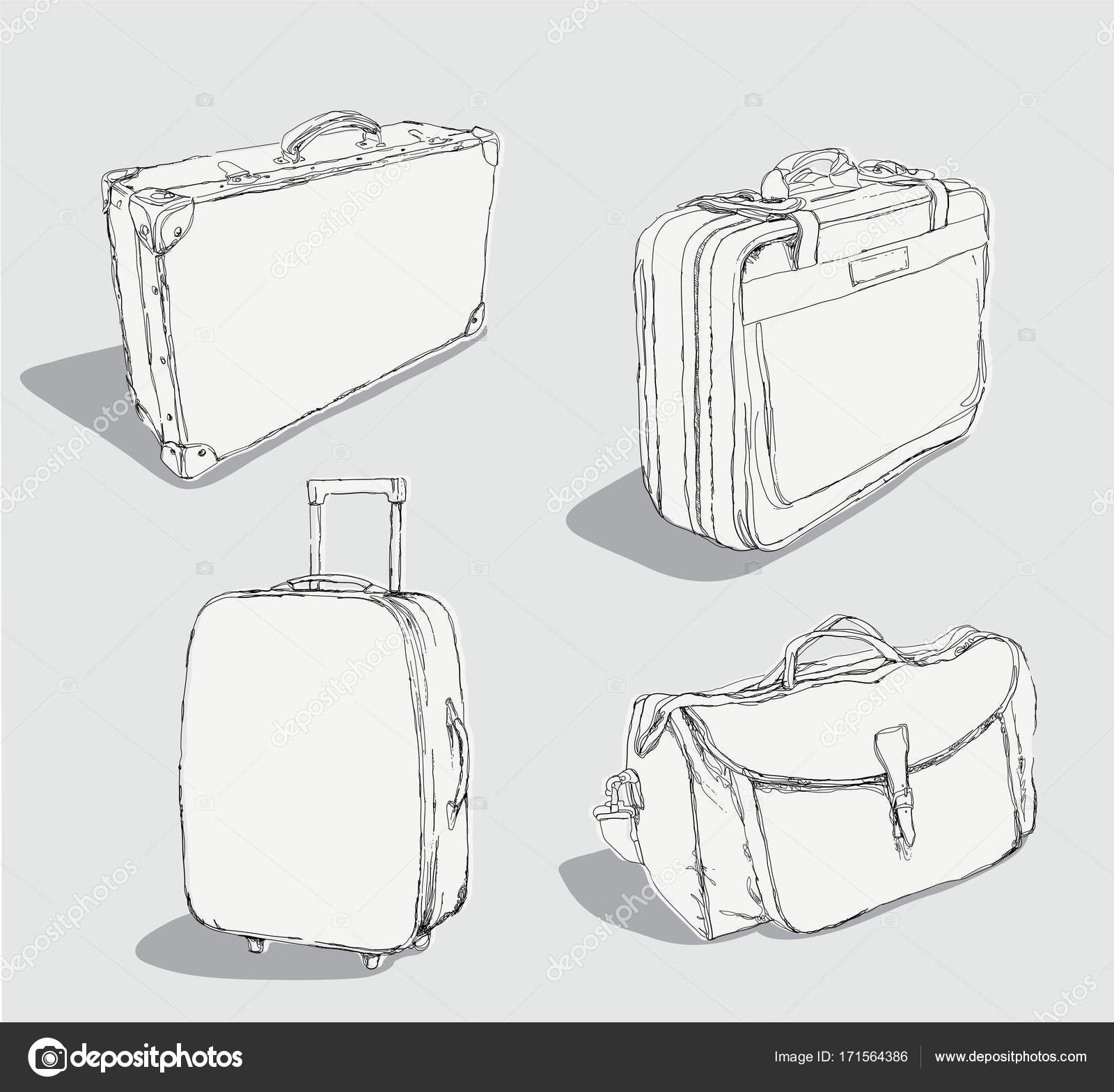 1600x1567 Outlined Luggage Set Stock Vector Draftmm