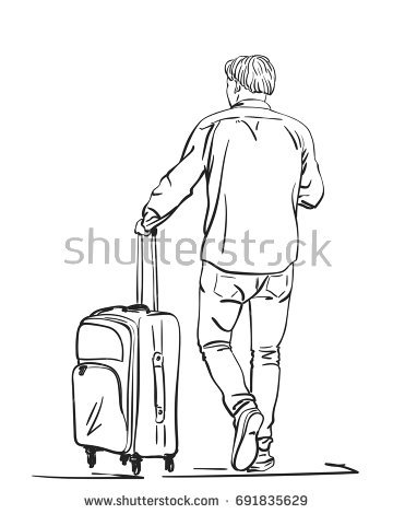 360x470 Vector Sketch Of Man Traveler With Suitcase View From Back, Travel