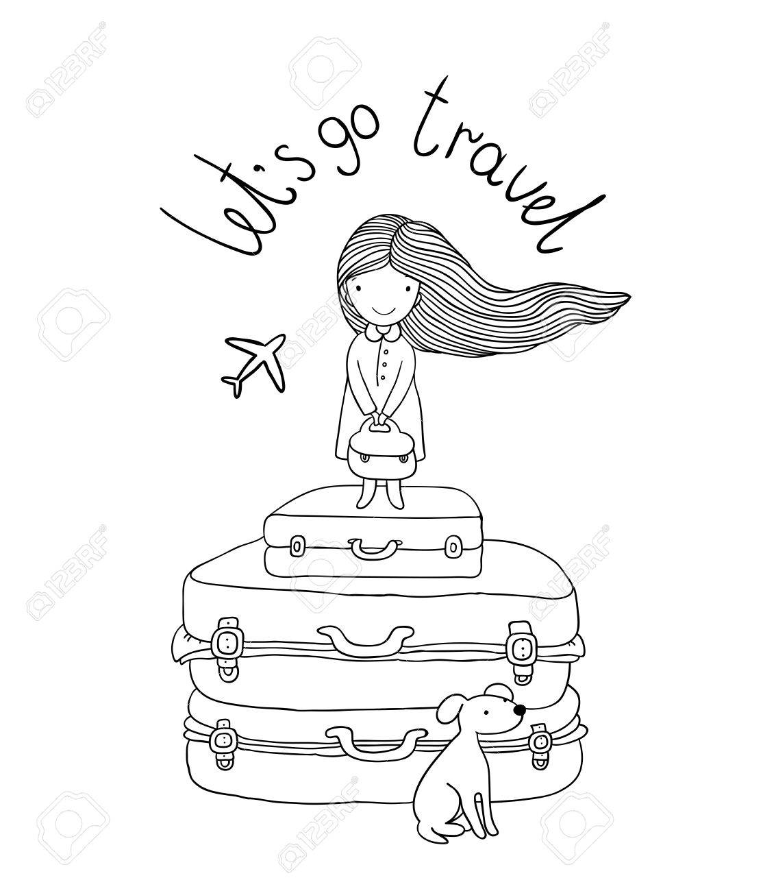 1114x1300 Beautiful Little Girl On The Suitcase. Hand Drawing Isolated