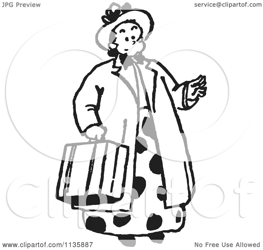 1080x1024 Cartoon Of A Retro Vintage Lady Carrying A Suitcase In Black