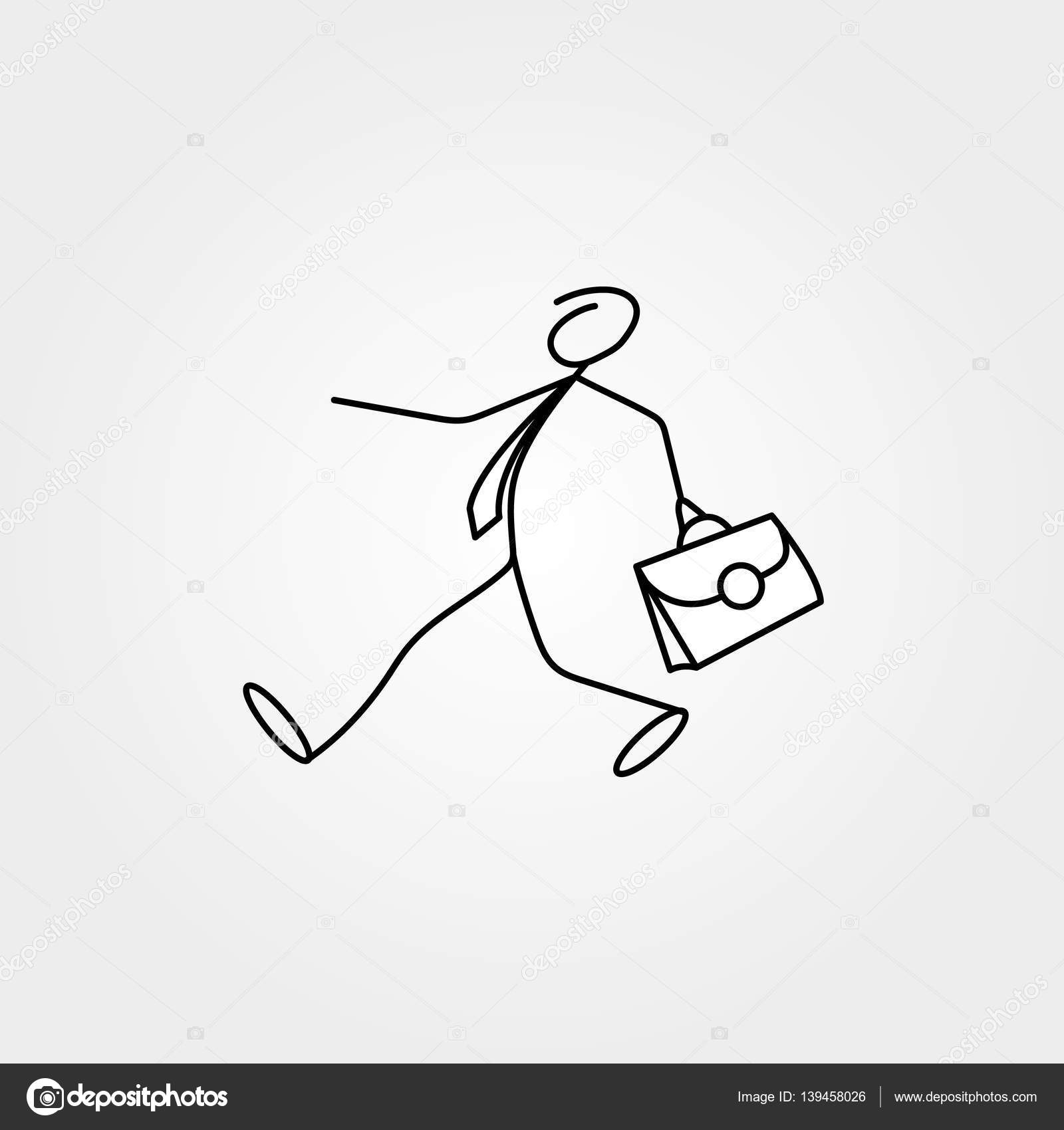 1600x1700 Cartoon Icon Of Sketch Business Man Stick Figure With Suitcase
