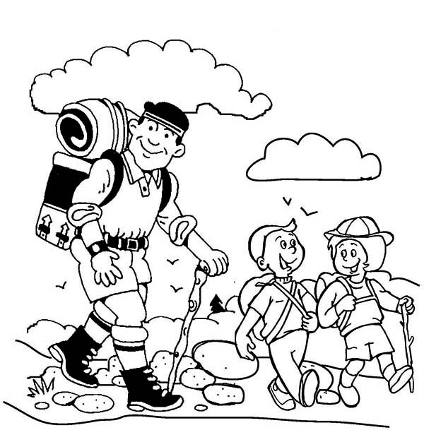 600x609 Summer Camp, Hiking With My Father On Summer Camp Coloring Page