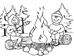 290x222 Camping Camping Campfire Coloring Page, Summer Camp Coloring