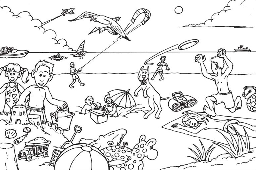 Childrens Coloring Pages Beach Beach 107 Nature Printable coloring ...