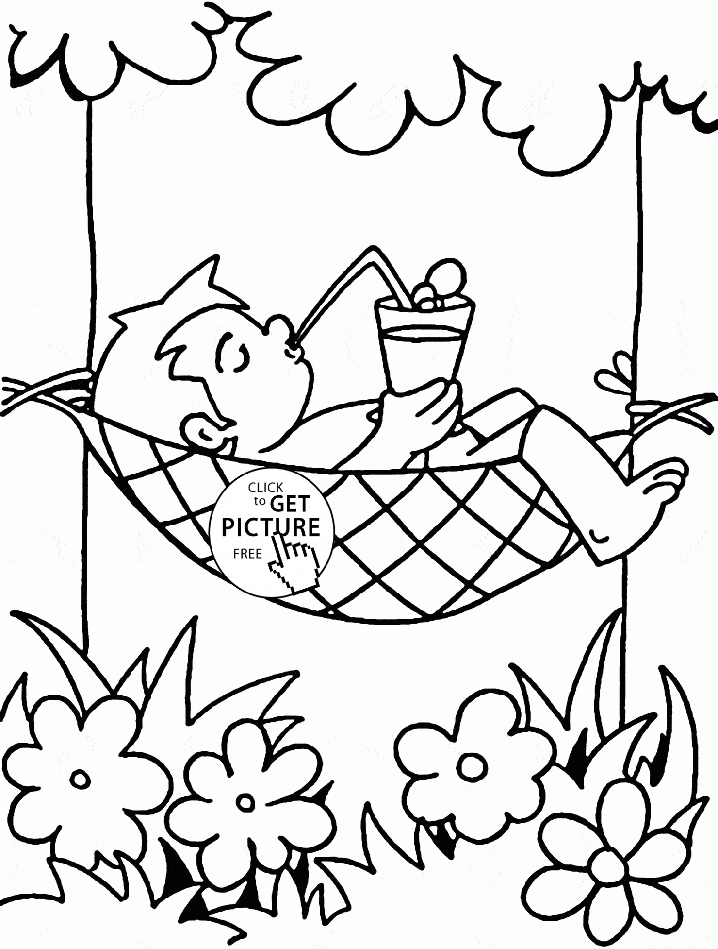 1480x1954 Drawing On Summer Vacation Happy Summer Vacation Coloring Page