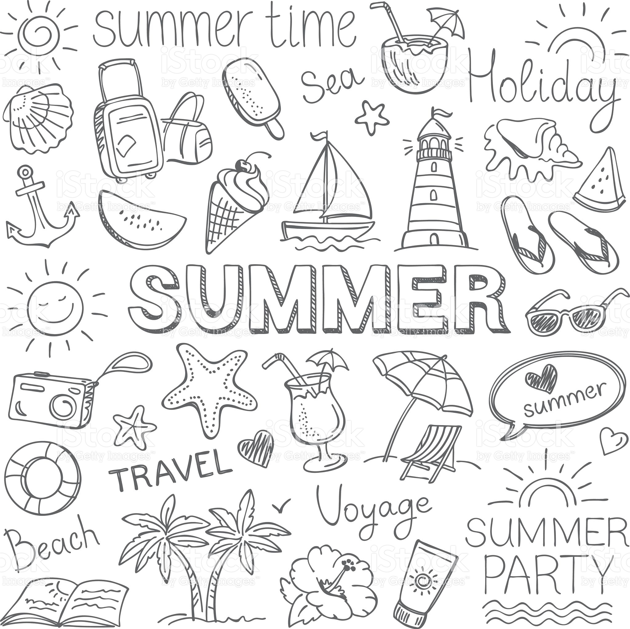 2048x2046 Summer, Pencil Drawing. Vector Art, Royalty And Summer