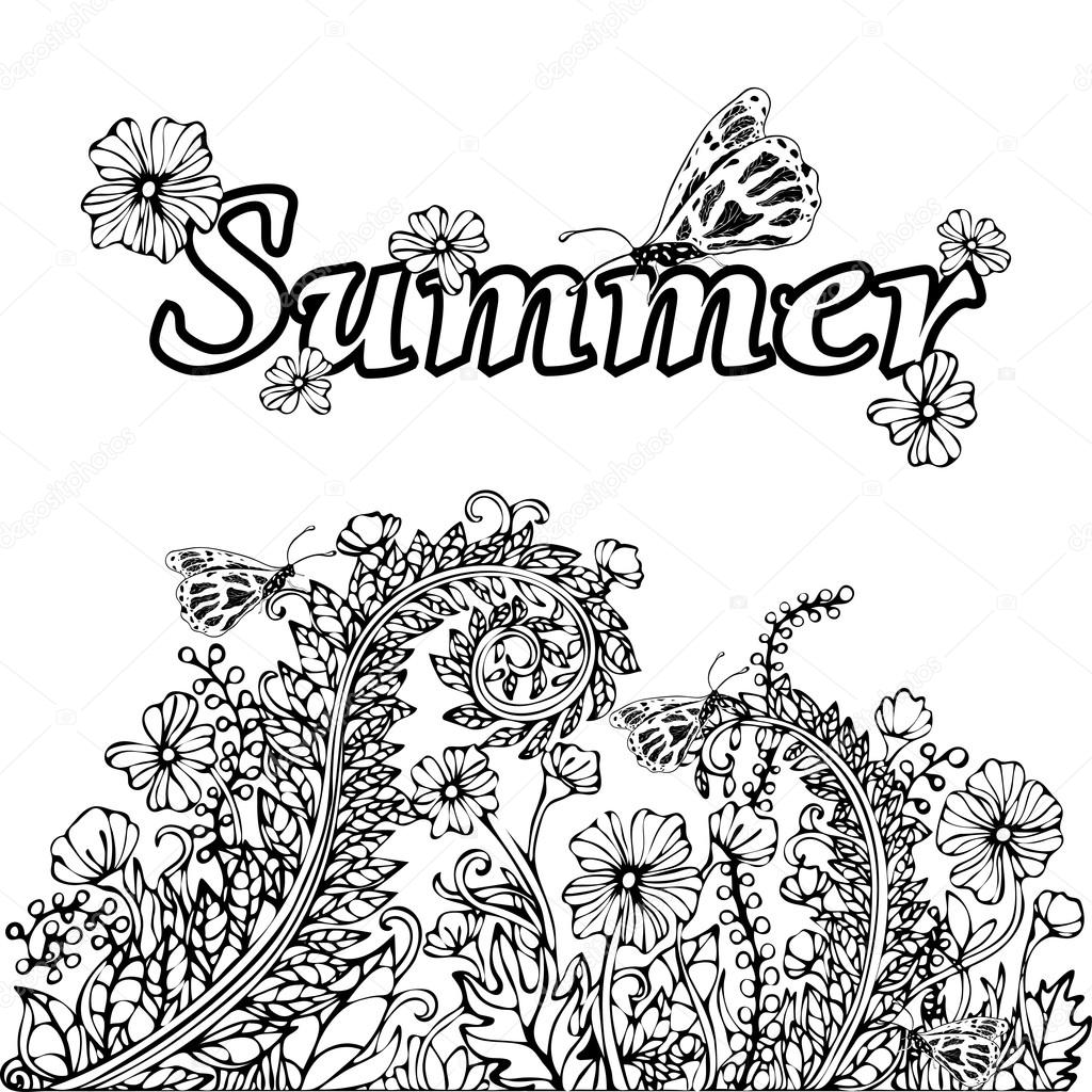 1024x1024 Summer Abstract Landscape, Coloring Book, Hand Drawing Sketch
