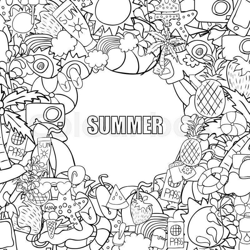 800x800 Summer Beach Hand Drawn Vector Symbols And Objects, Drawing By