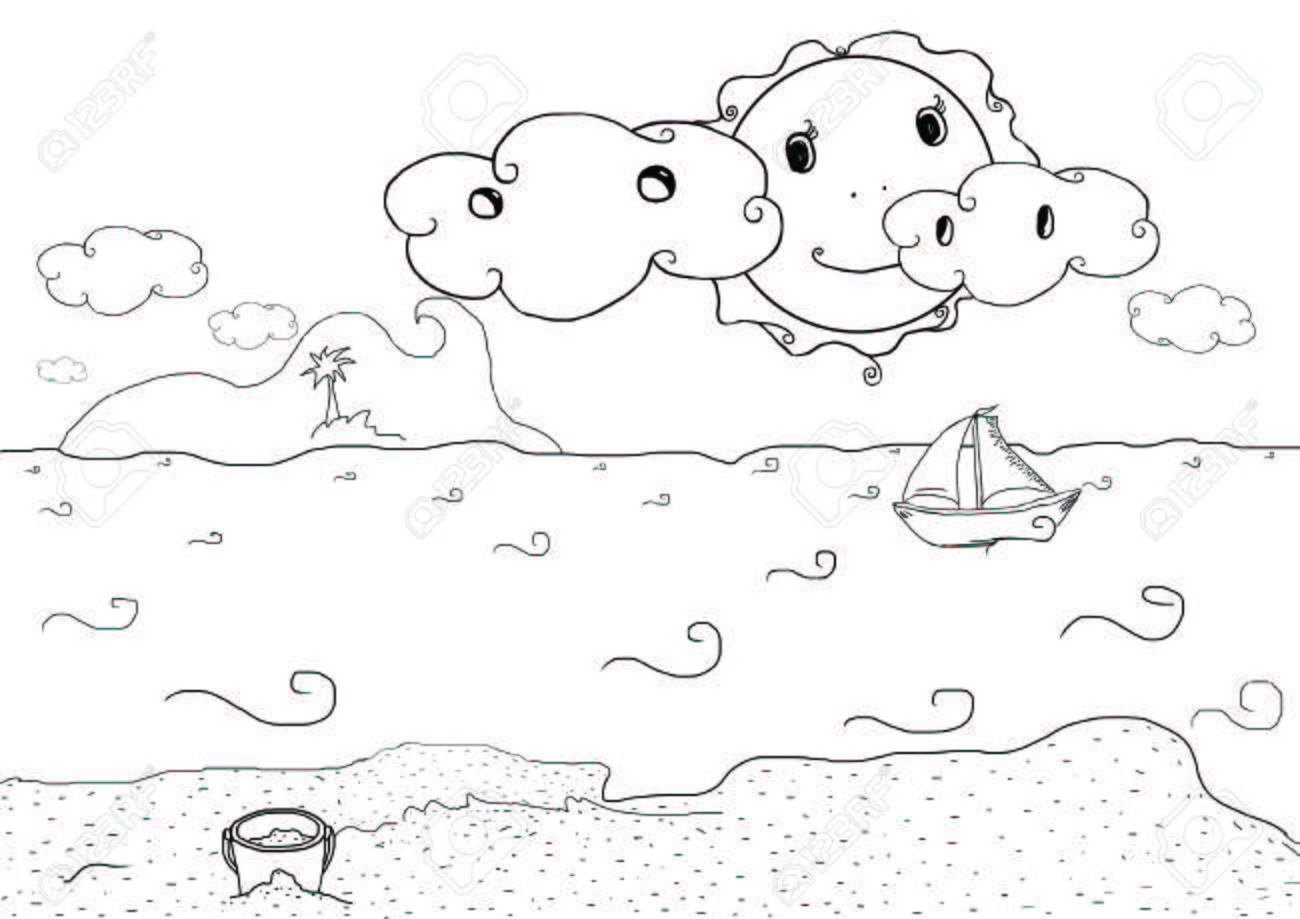 1300x919 Drawing Plate For Kids With Summer Holiday Beach Landscape Stock