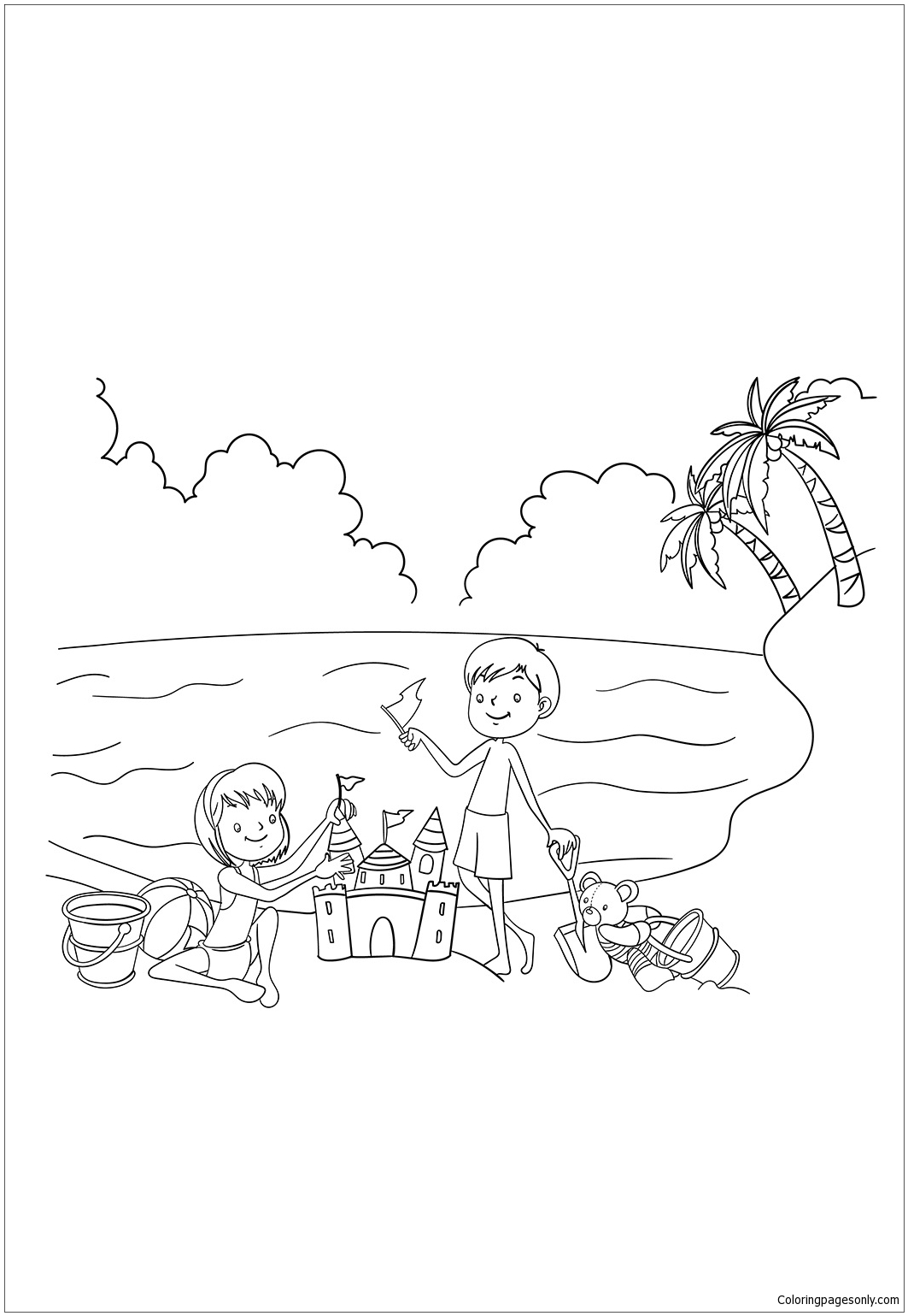 1063x1539 Kids Enjoying In Beach During Summer Coloring Page