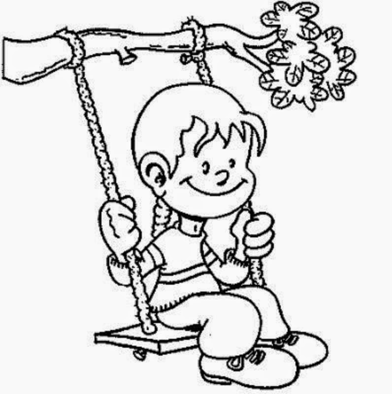 796x800 Colour Drawing Free Wallpaper Little Kid Swing Summer Coloring