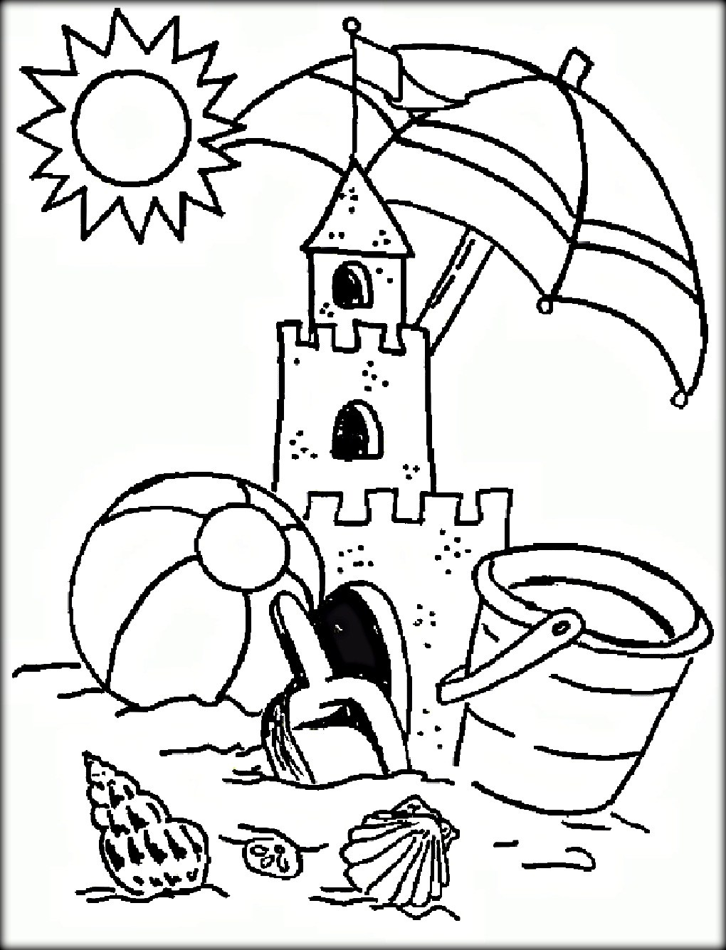 1020x1335 Easy To Paint Summer Coloring Pages For Kids