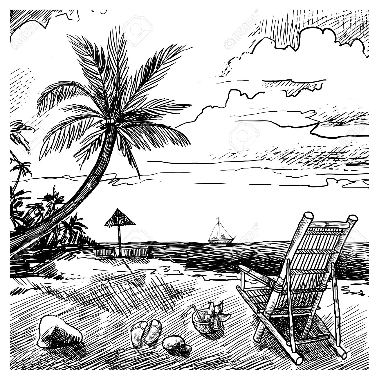 1299x1300 Summer Beach Sketch Background With Palm Chair Coconut And Yacht