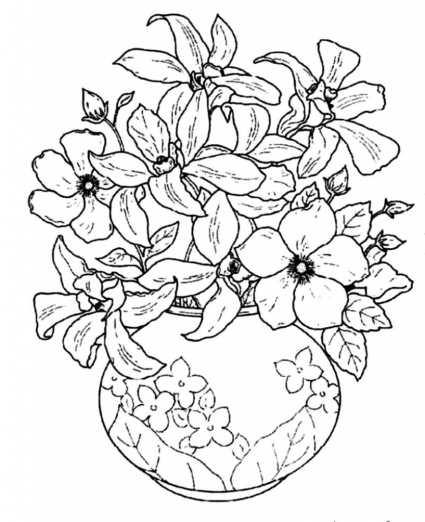 834x1024 Beautiful Flower Vase With Flowers Drawing Bouquet Of Summer