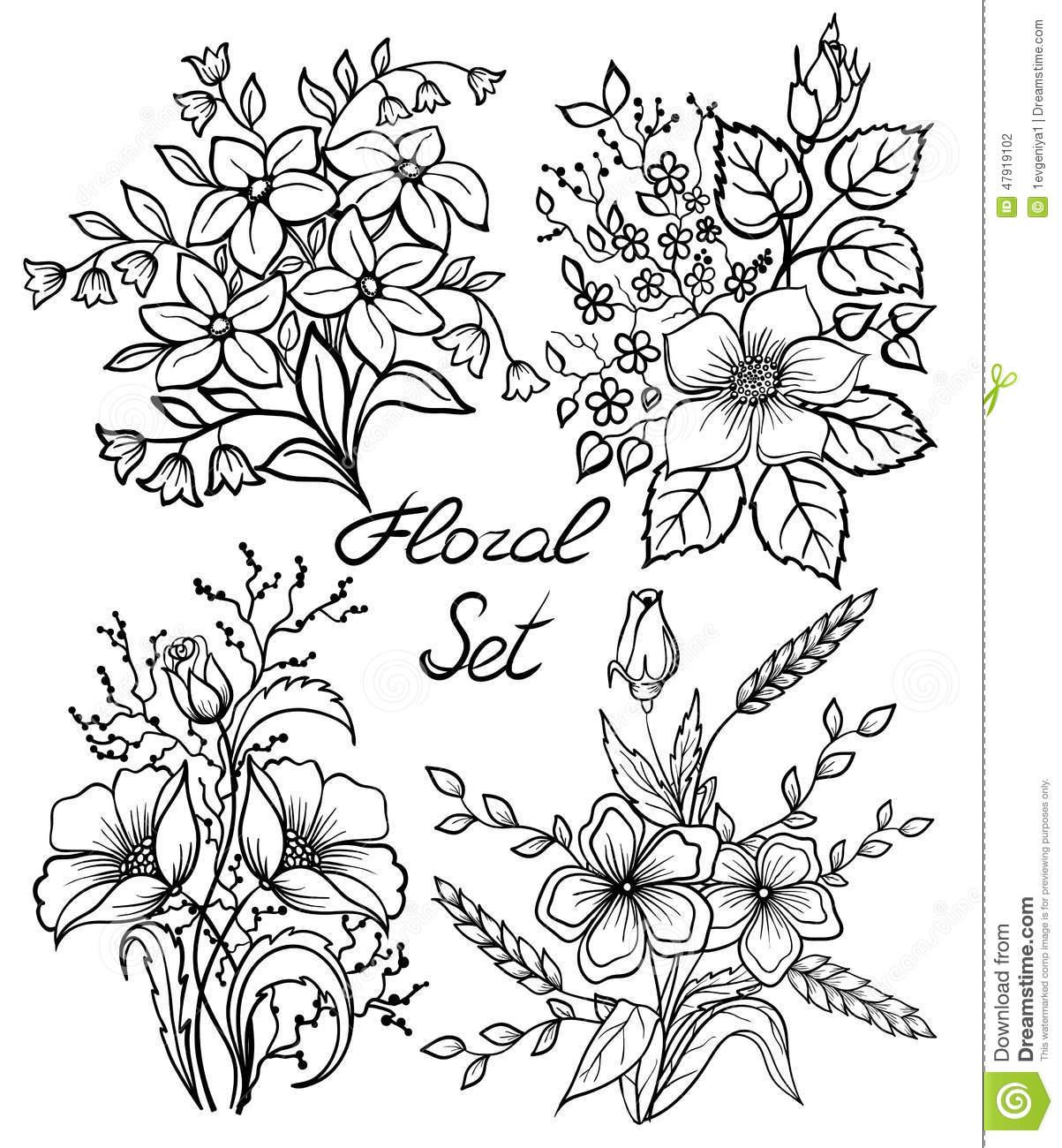 1203x1300 Coloring Floral Sets