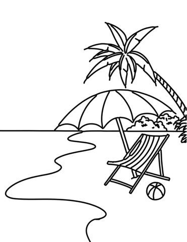 371x480 Summer Beach Scene Coloring Page Free Printable Coloring Pages