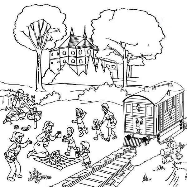 600x600 Family Vacation Beside Railroad Coloring Page Color Luna