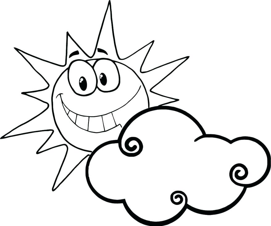 878x735 Sun Color Page Sun Coloring Pages With Sunglasses And Clouds