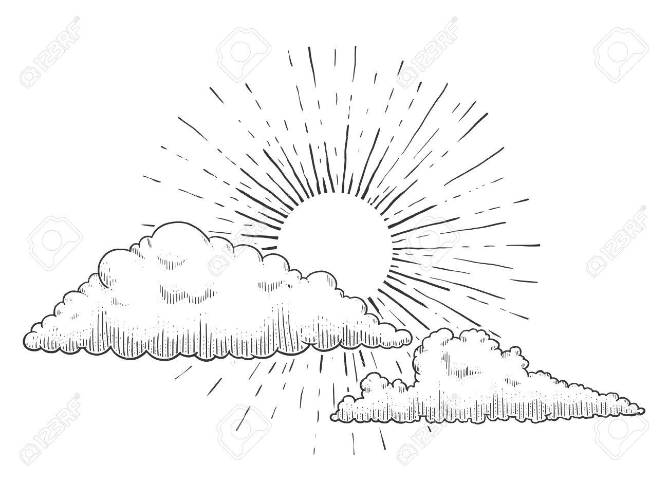 1300x975 Sun With Clouds And Clouds Engraving Vector Illustration. Scratch