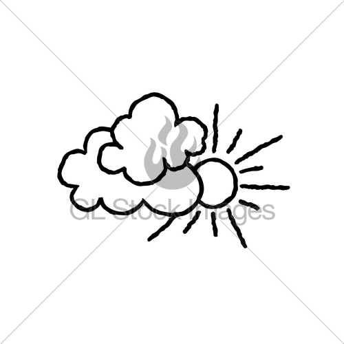 500x500 Sun With Clouds Icon. Doodle Line Art Weather Sign Illust Gl