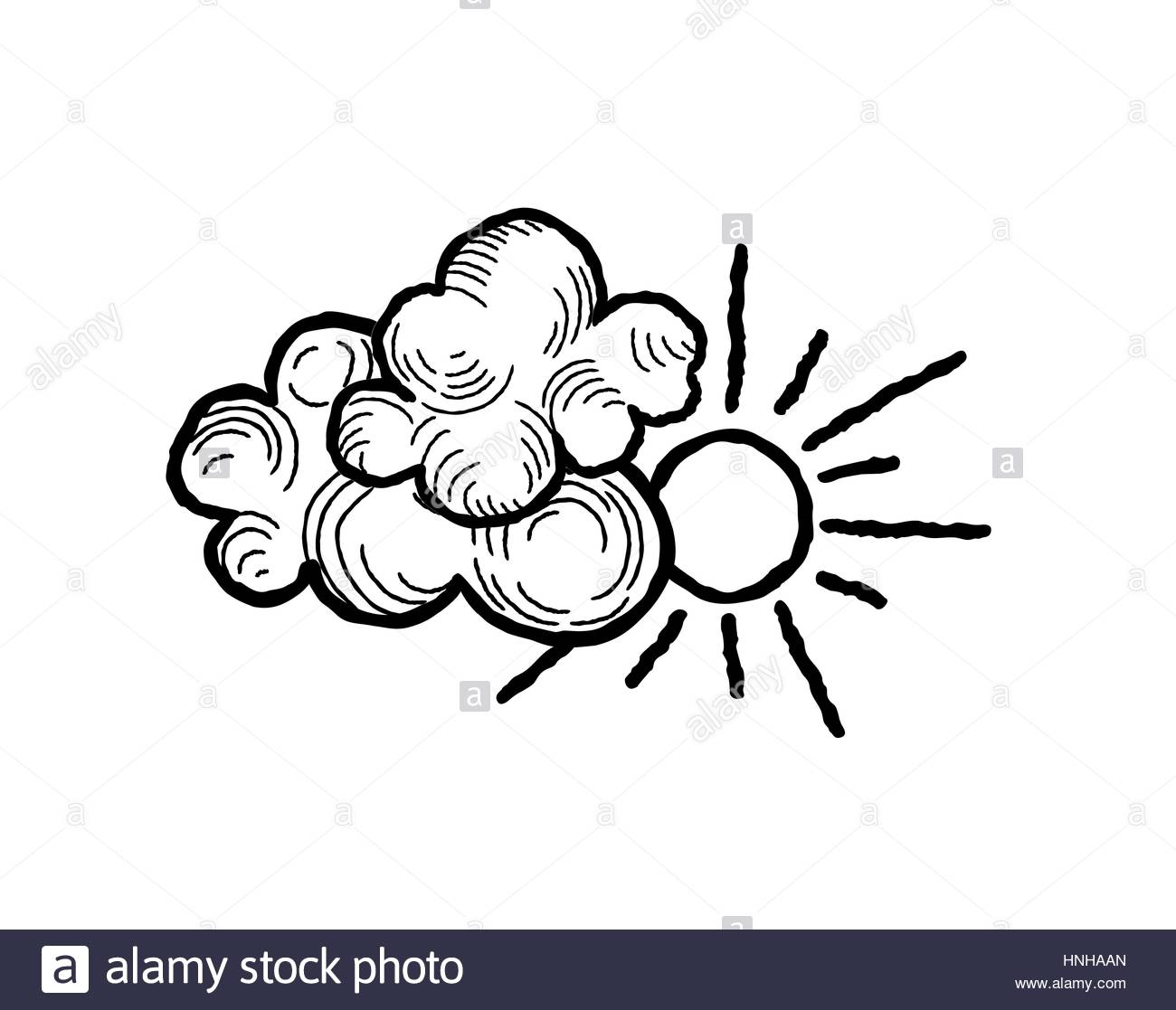 1300x1117 Sun With Clouds Icon. Doodle Line Art Weather Sign Illustration