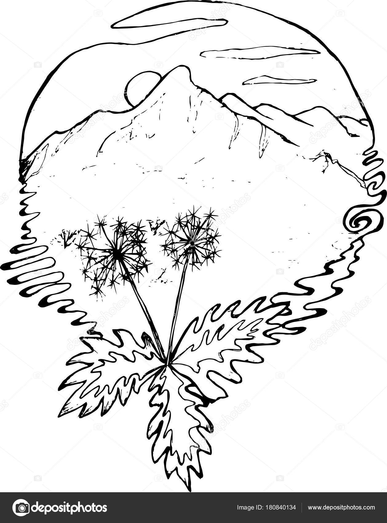 1259x1700 Black And White Drawing Of Mountains, Sun, Clouds, Dandelions