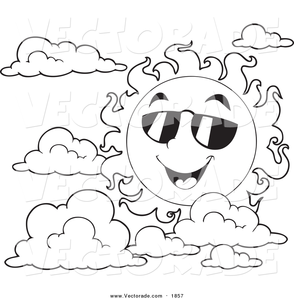 1024x1044 Vector Of A Black White Happy Summer Sun With Shades