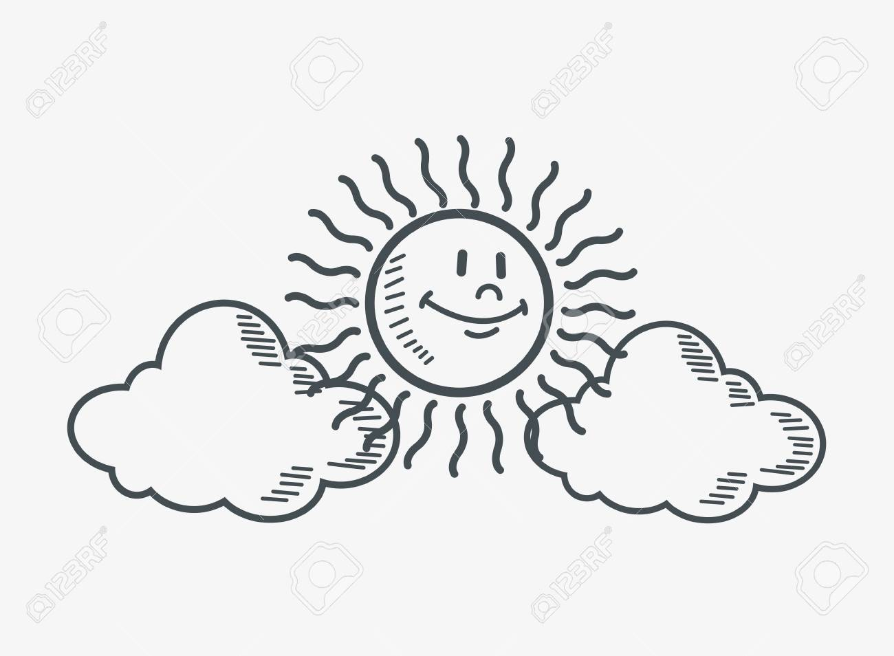 1300x954 Flat Design Sun And Clouds Doodle Drawing Image Vector