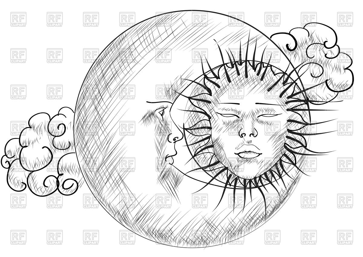 1200x849 Sky With Moon And Sun, Sketch Royalty Free Vector Clip Art Image