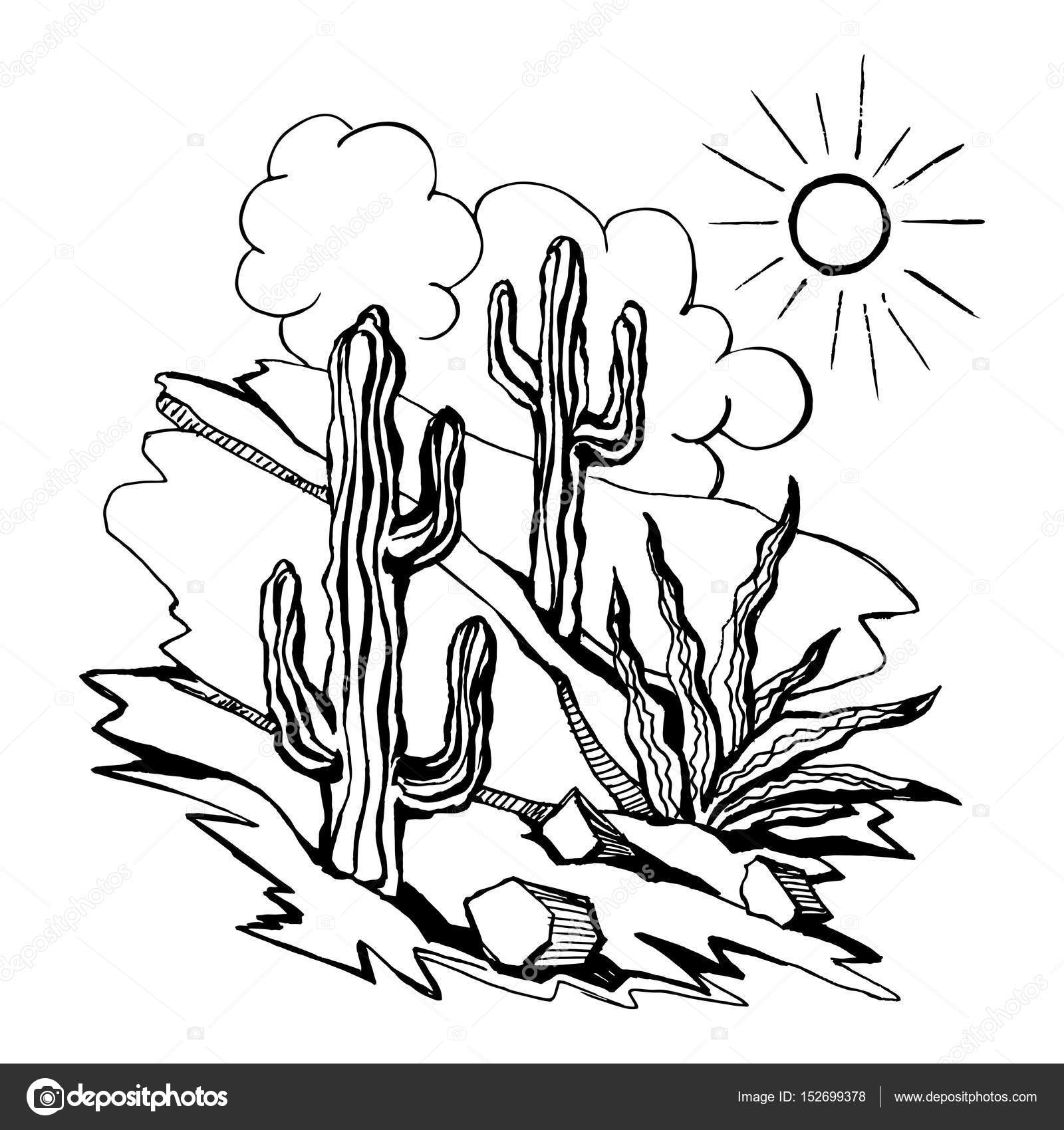 1600x1700 Vector Sketch Of Outline Drawing Landscape Stock Vector Roma79