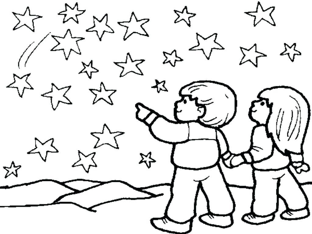 1024x768 Coloring Night Sky Coloring Pages Sun Star Time. Night Sky